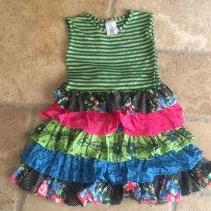 Persnickety Ruffle Dress 5 years Teal Lime Pink